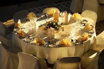 wedding dinner table in evening light