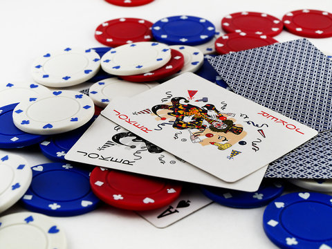 Red White and Blue Poker Chips with Red and Black Jokers