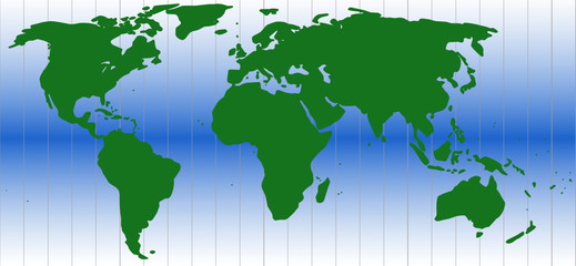 World map in green and blue