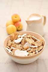 healthy breakfast - musli and fruits