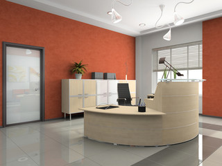 Interior of the modern reception in office