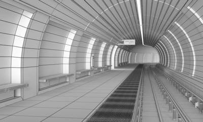Underground rail - 3D construction wire