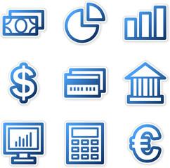 Finance icons, blue contour series