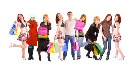 shopping people line