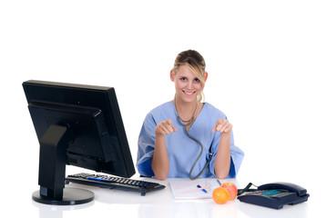 Female doctor in office