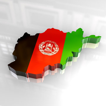3d flag map of afghanistan