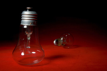 Two lamp on red