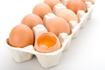 Brown eggs, isolated