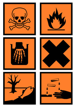 Collection d'étiquettes danger produits chimiques (détouré)