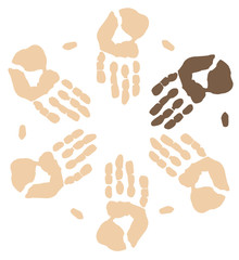 group of hands working together showing visible minority