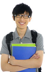 A young asian student with folder