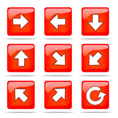 Set of arrow icons, 9 directions and reload icon