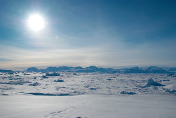 Autocollant pour porte Pôle Ice field in Greenland