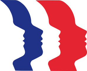 drapeau français et visages en trompe oeil
