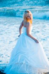 Bride in sea water