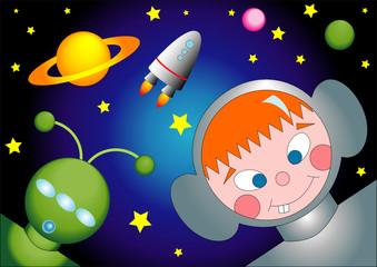 Garden Poster Cosmos l'astronauta e l'alieno
