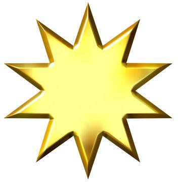 3D Golden 10 Point Star
