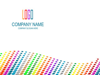 Company page with multicolored perspective and logo space.