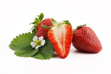leckere erdbeeren mit blumen