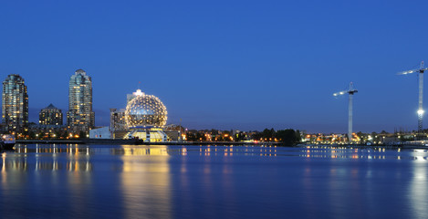 False creek night scene with science world globe, vancouver