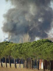Big fire black smoke