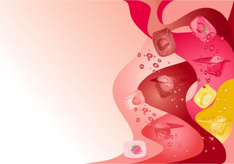 Abstract background with red fruits and banana ice cubes.