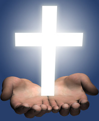 Hands hold out a bright shining white cross