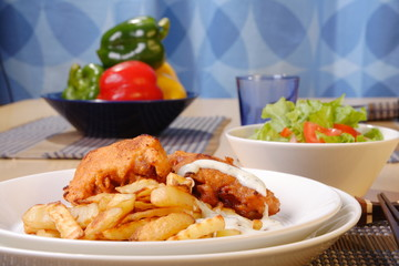 French fries and chicken