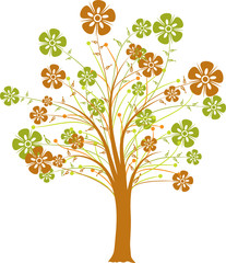 Blossoming decorative tree, vector illustration