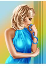 Glamour girl in blue dress