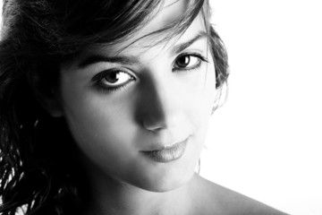 Black and white Portrait of beautiful young and sensual woman