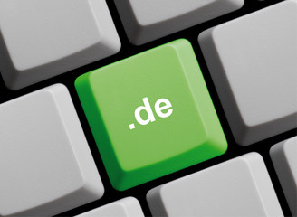 Domainendung .de auf Computer Taste
