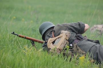 German soldier. WW2 re-enacting
