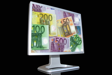 lcd monitor with euro background