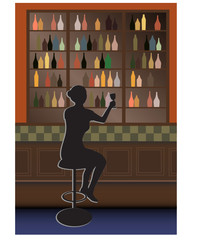 bottle bar and woman vector