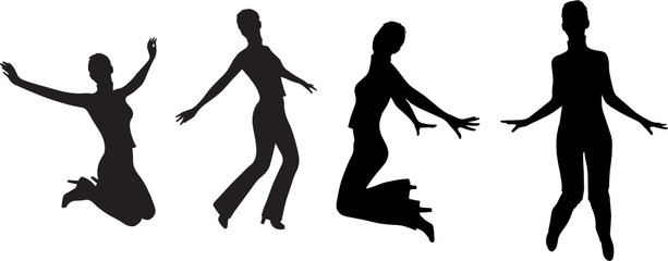 jump girl silhouette vector