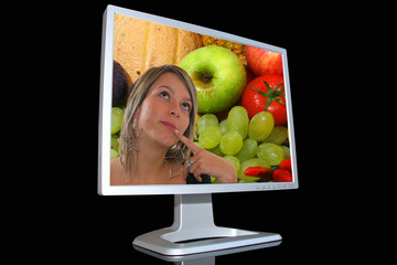 Lcd monitor with girl and fruits background