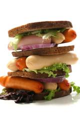 raw fresh sausages in sandwich