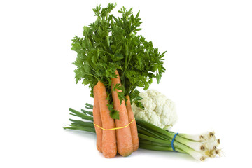 Fresh healthy vegetables on white background