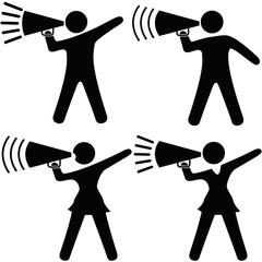 Symbol People & Cheerleader Set Shout Announcement in Megaphone