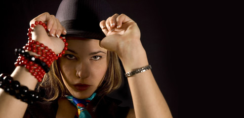 Trendy girl with hat