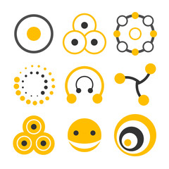 Two-colors logo elements collection based on circle shape