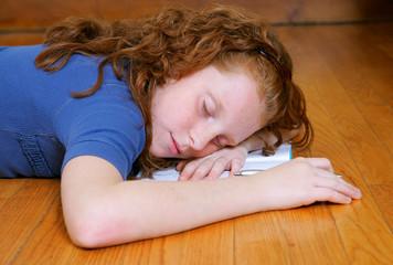 you girl with diary sleeping