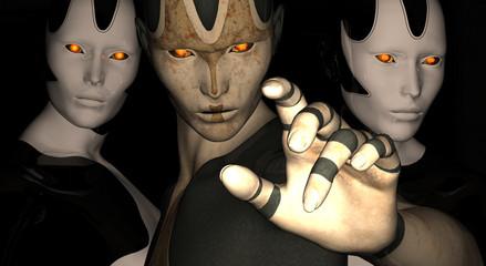 3 female cyborgs
