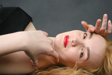 blond woman lying on the floor-2