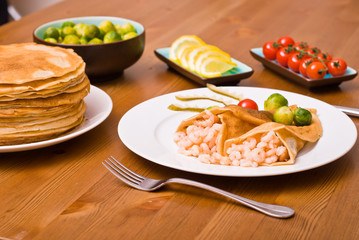 Pancakes with shrimps