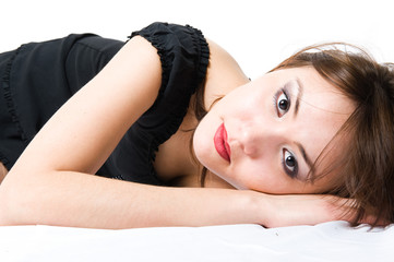 Young japanese girl lying on the floor. Beautiful make-up