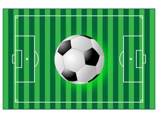Ball über dem Fussballfeld