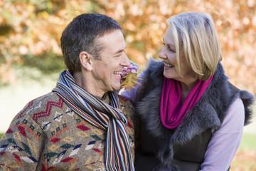 Senior couple on autumn walk