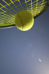 Action Tennis - Tennis racket and yellow tennis ball sky blue